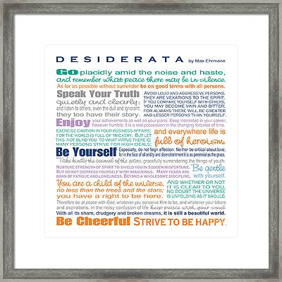 Desiderata - Multi-color - Square Format Framed Print