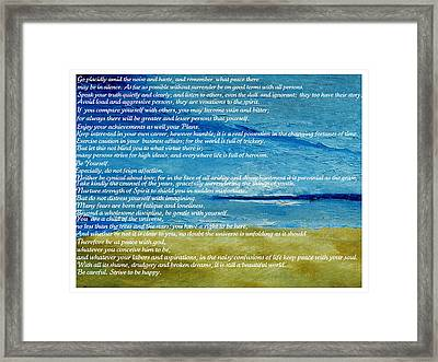 Desiderata Framed Print by Conor Murphy