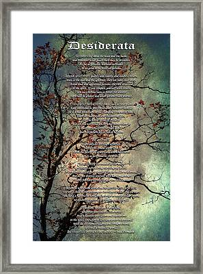 Desiderata Inspiration Over Old Textured Tree Framed Print by Christina Rollo