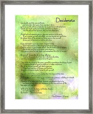 Desiderata - Inspirational Poem Framed Print