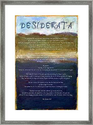 Desiderata Lll Framed Print by Michelle Calkins