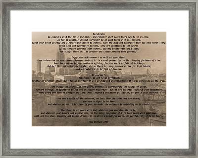 Desiderata Nashville Framed Print by Dan Sproul