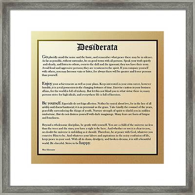 Desiderata Old English Square Framed Print
