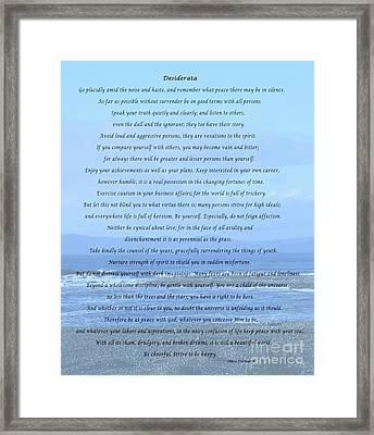 Desiderata On Beach And Ocean Scene Framed Print by Barbara Griffin