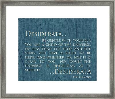 Desiderata On Canvas Framed Print by Dan Sproul