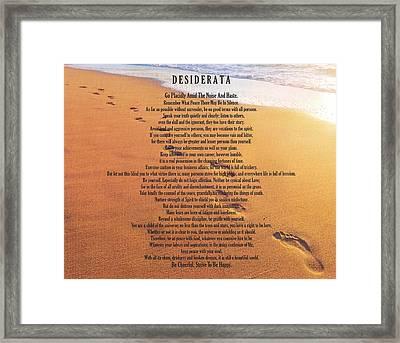 Desiderata Poem On Footprints Typography Art Framed Print