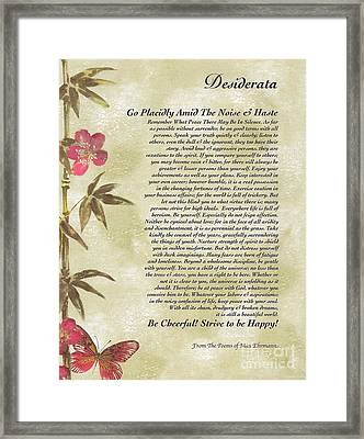 Desiderata Poem With Bamboo And Butterflies Framed Print