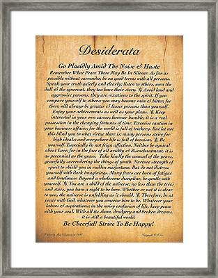 Desiderata Poster On Antique Embossed Wood Paper Framed Print