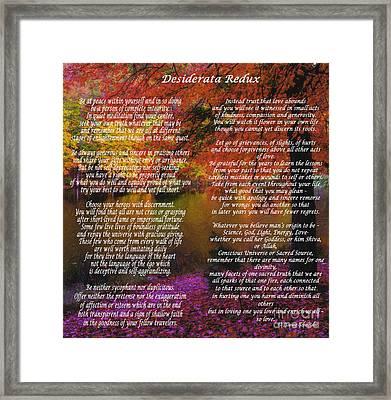 Desiderata Redux Framed Print by Lianne Schneider