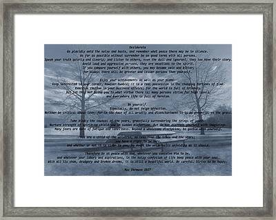 Desiderata Winter Scene Framed Print