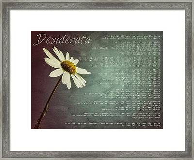 Desiderata With Daisy Framed Print by Marianna Mills