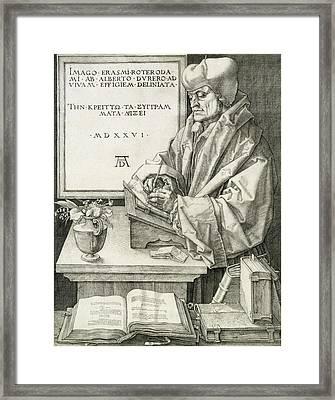Desiderius Erasmus Of Rotterdam, 1526 Framed Print by Albrecht D?rer or Duerer