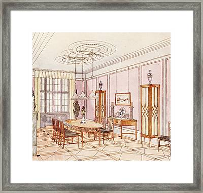 Design For A Dining Room Framed Print by Paul Ludwig Troost