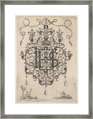Design For A Pendant With Ihs Monogram Framed Print