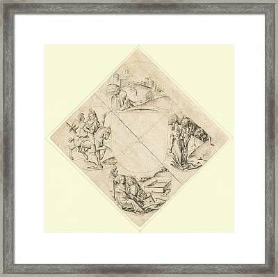 Design For A Quatrefoil With A Castle, Two Lovers Framed Print by Litz Collection