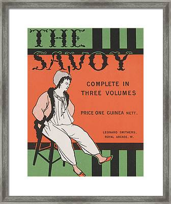Design For The Front Cover Of 'the Savoy Complete In Three Volumes' Framed Print by Aubrey Beardsley