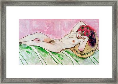 Design For The Red Sultana Framed Print by Leon Bakst