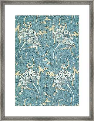 Design In Turquoise Framed Print by William Morris