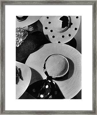 Designer Cartwheel Hats Framed Print by Horst P. Horst