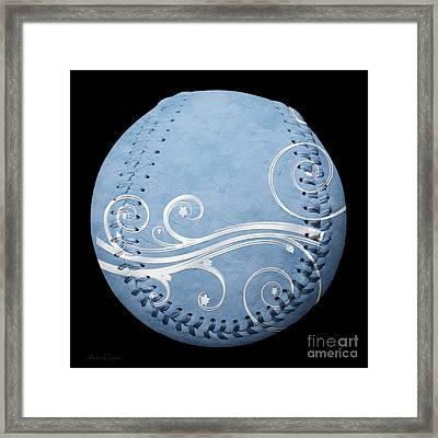 Designer Light Blue Baseball Square Framed Print