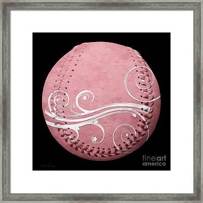 Designer Pink Baseball Square Framed Print