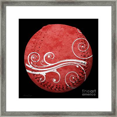 Designer Red Baseball Square Framed Print
