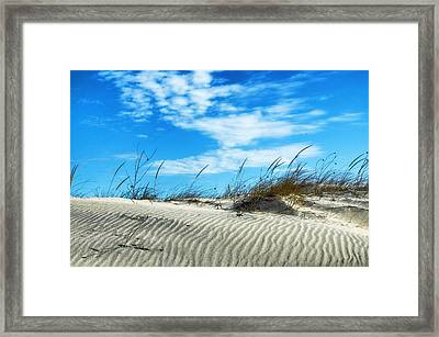 Designs In Sand And Clouds Framed Print by Gary Slawsky