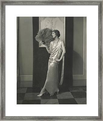 Desiree Lubowska Holding An Ostrich Fan Framed Print by Edward Steichen
