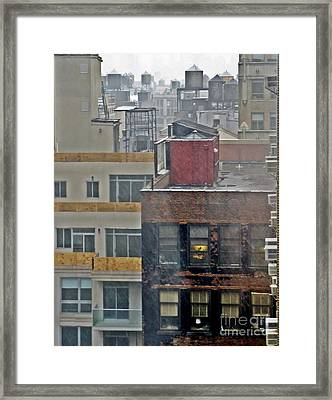 Framed Print featuring the photograph Desk Lamp Through Lit Window by Lilliana Mendez
