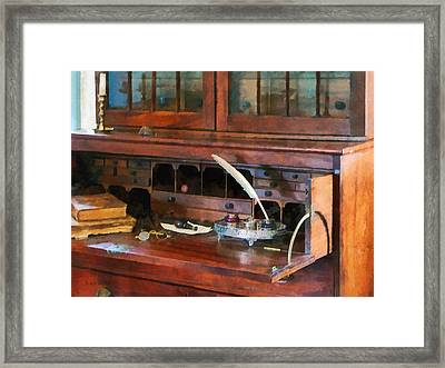 Desk With Quill And Books Framed Print by Susan Savad