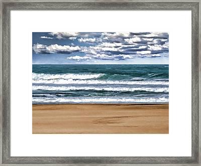 Desolate Day At The Beach Framed Print by Elaine Plesser