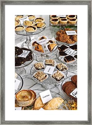 Desserts In Bakery Window Framed Print by Elena Elisseeva