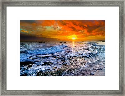 Framed Print featuring the photograph Destin Beach Florida-dark Red Sunset Seascape Photography by eSzra