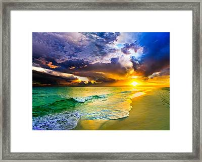 Destin Florida-purple Sunset Over The Beach Art Prints Framed Print