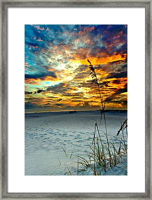 Framed Print featuring the photograph Destin Florida White Sand Landscape-fiery Red Sky Sunset by Eszra Tanner