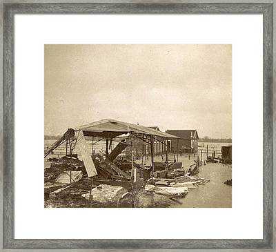 Destroyed Barn On Flooded Land In The Suburbs Of Paris Framed Print by Artokoloro