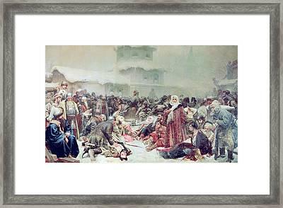 Destruction Of Novgorod By Tsar Ivan IIi 1440-1505 1889 Oil On Canvas Framed Print by Klavdiy Vasilievich Lebedev