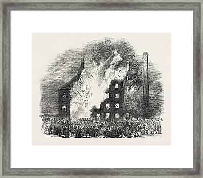 Destructive Fire At Fiskerton Mill, Near Southwell Framed Print