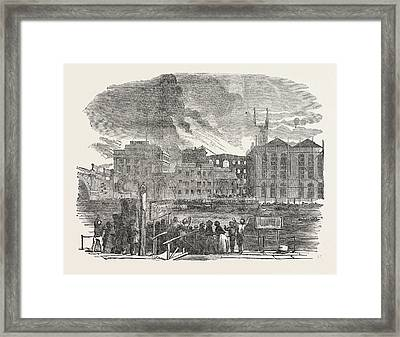 Destructive Fire At Hibernia Wharf, Southwark Framed Print by English School