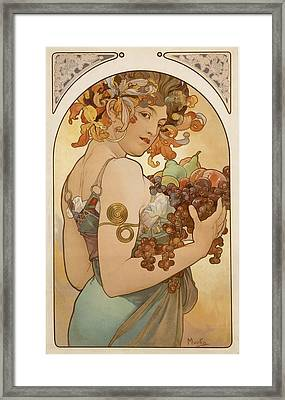 Detail From Fruit An 1897 Poster By Mucha Framed Print