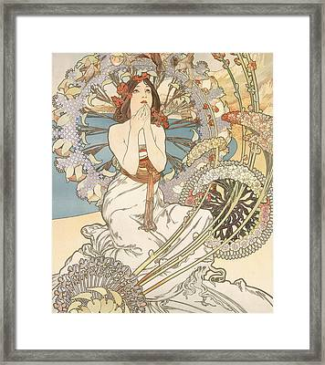 Detail From Monaco  Monte Carlo Framed Print by Alphonse Marie Mucha