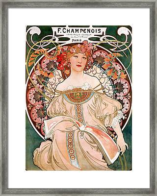 Detail From Mucha Champenoise Poster Framed Print