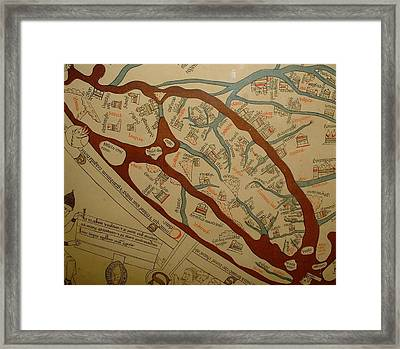 Detail From The Left Lower Portion Of Hereford Mappa Mundi 1300  Framed Print by L Brown