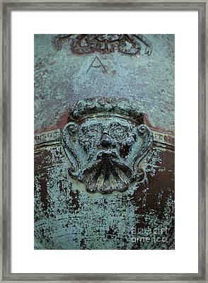 Detail Of A Bronze Mortar Framed Print by Edward Fielding