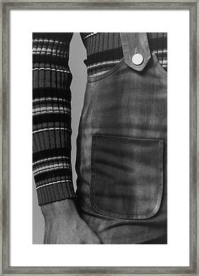 Detail Of A Sweater And Overalls Framed Print