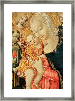 Detail Of Madonna And Child With Angels Framed Print by Matteo di Giovanni di Bartolo