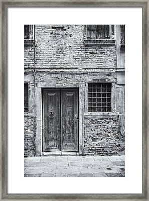 Detail Of Old Facade In Venice Framed Print by Francesco Rizzato