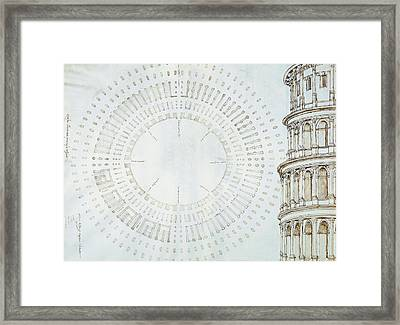 Detail Of Study With Map And Relief Of Colosseum Framed Print by Giuliano da Sangallo