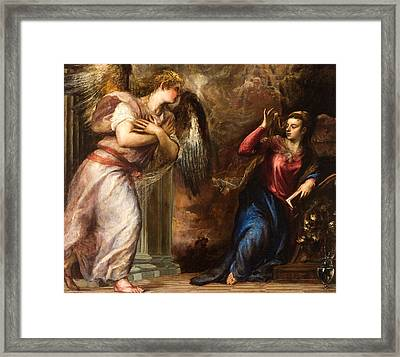 Detail Of The Annunciation Framed Print by Titian