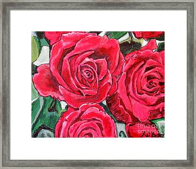 Framed Print featuring the painting Detail Of The Delight Of Grandma's Roses Painting by Kimberlee Baxter